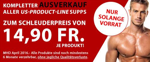 Kompletter Ausverkauf aller US-Productline Supps zum Schleuderpreis von 14,90 Fr. je Produkt!