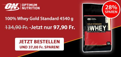 100% Whey Gold Standard 4540 g von Optimum Nutrition 28% günstiger → Jetzt bestellen und 37,00 Fr. sparen!