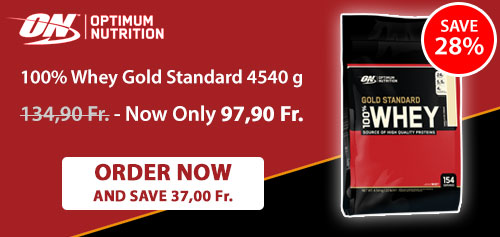 ON 100% Whey Gold Standard 4540 g. Order now and SAVE 37,00 Fr.