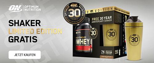 100% Whey Gold Standard + Shaker (Anniversary Pack). Jetzt bestellen!