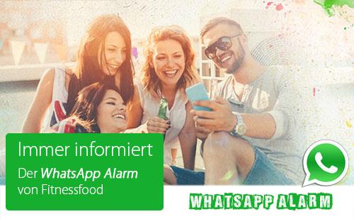 Der Whatsapp Alarm von Fitnessfood - immer informiert